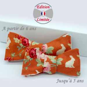 Noeud papillon enfant coton orange Champêtre
